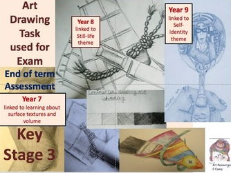 Evaluation drawing Ks3: Yr 7 rope drawing, Yr 8 fabric pattern and peg/brush and Yr portrait drawing