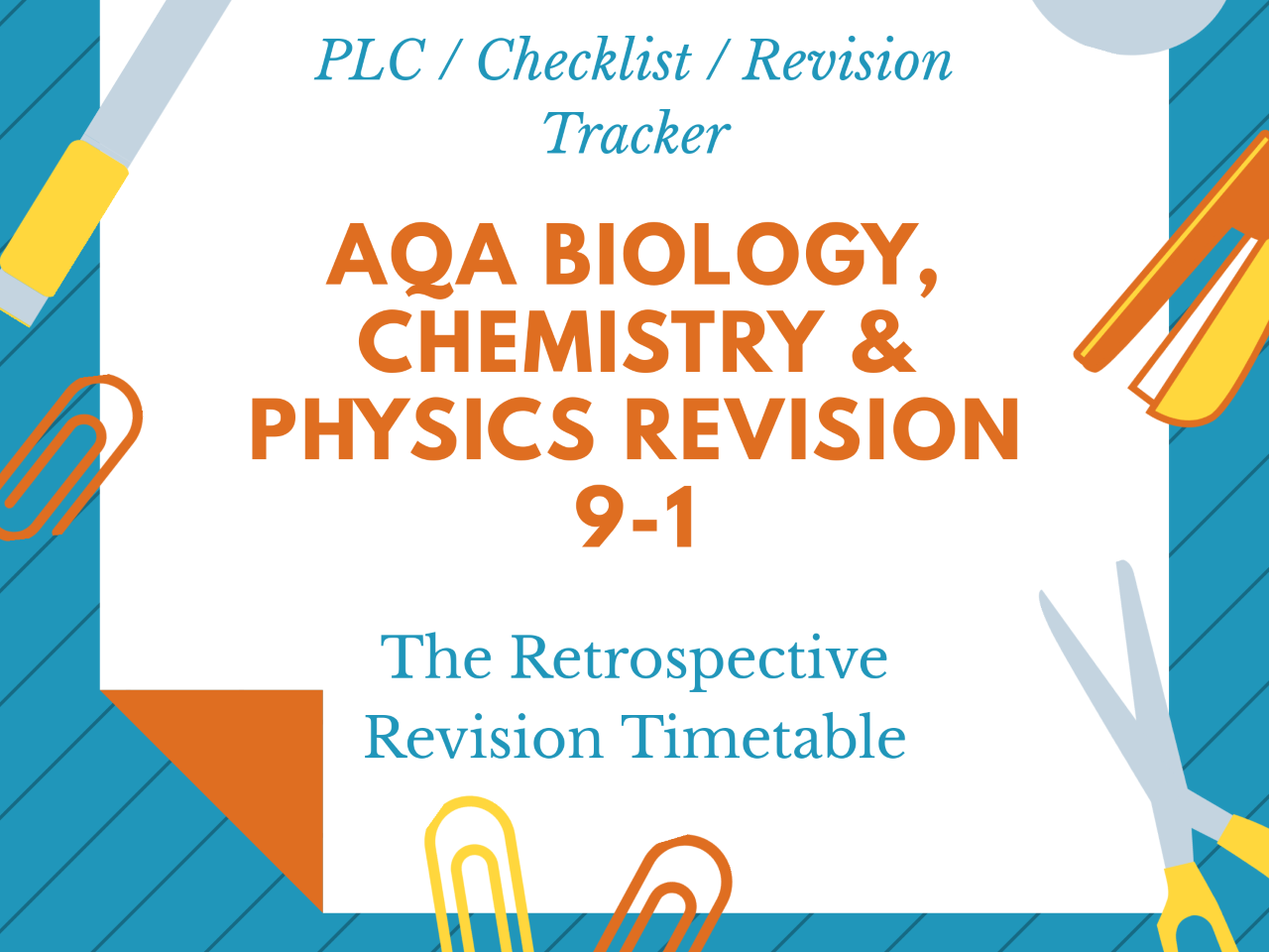 AQA GCSE Science Triple Biology, Chemistry & Physics Revision Tracker PLC 9-1