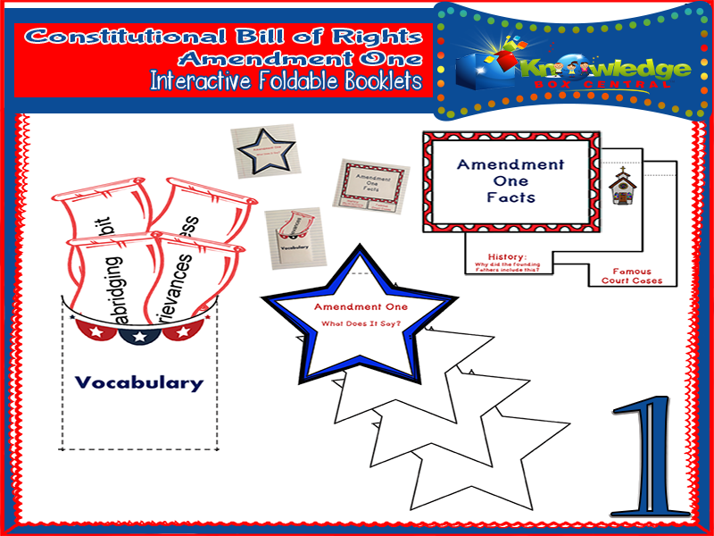 Constitutional Bill of Rights: Amendment One Interactive Foldable Booklets
