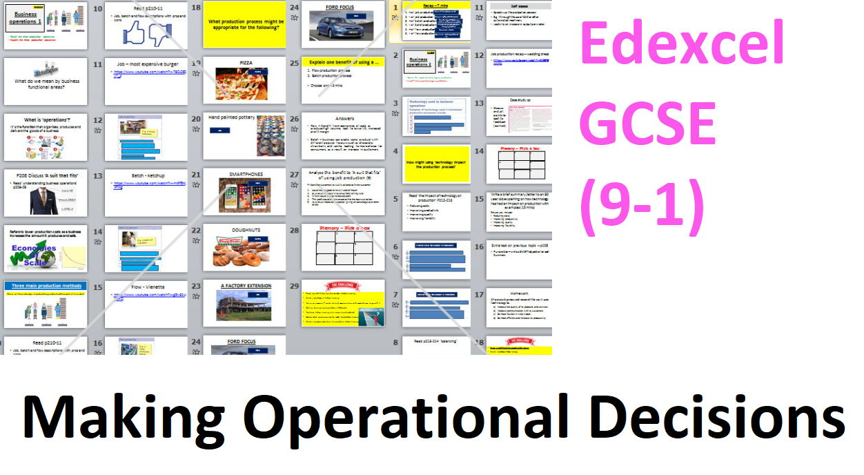 Edexcel GCSE Business (9-1) new spec - Theme 2 - 2.3 Making Operational Decisions + test