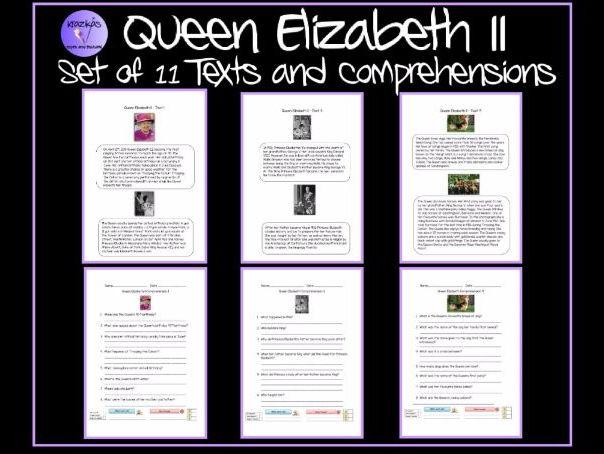 Queen Elizabeth II - Set of 11 Texts and Comprehensions