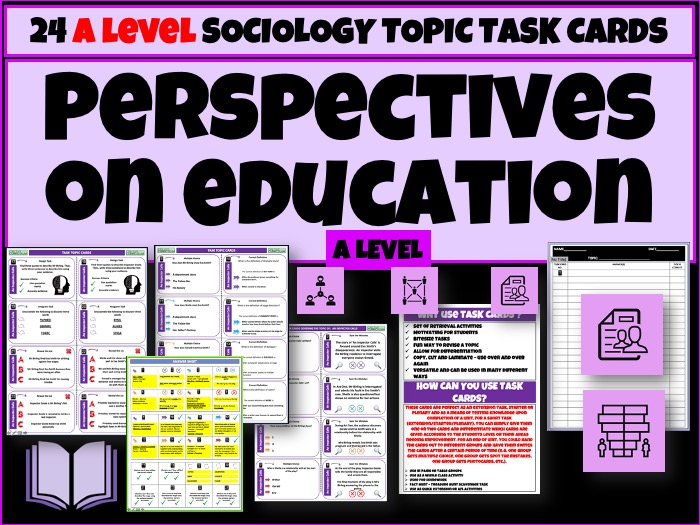 A level Sociology Task Cards - Education
