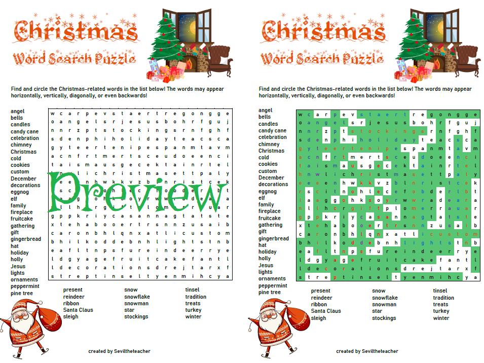 Christmas Word Search Puzzle