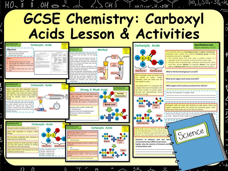 KS4 AQA GCSE Chemistry (Science) Carboxylic Acid Lesson & Activities