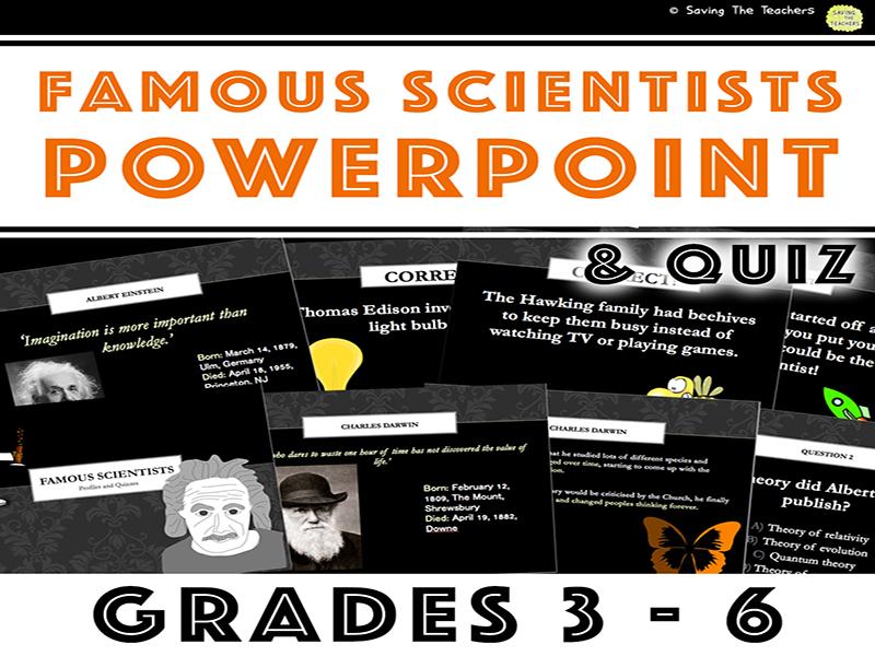 Famous Scientists PowerPoint: Curie, Edison, Darwin, Einstein, & Hawking