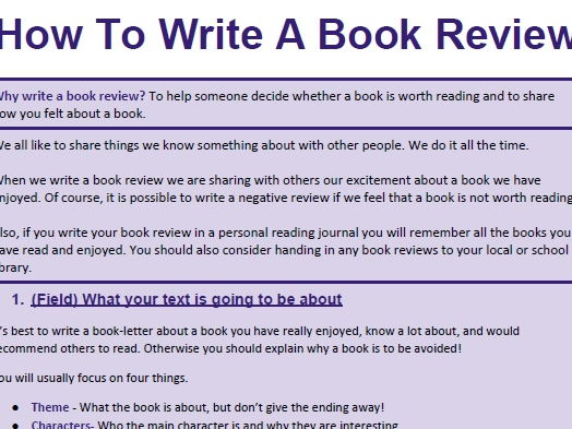 Genre Booklet: How To Write A Book Review