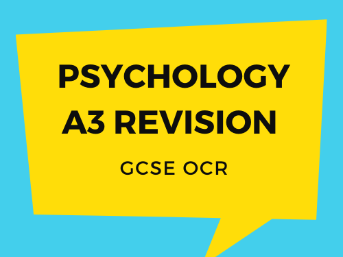 OCR GCSE  Psychology A3 Revision Sheets