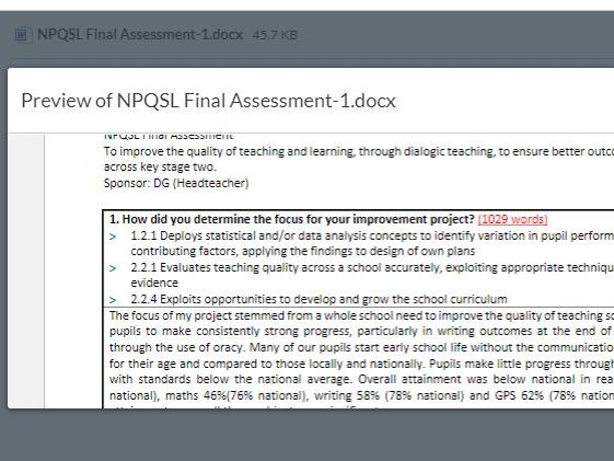 NPQSL  PASS 2019 To improve the quality of teaching and learning. 24 marks out of 28