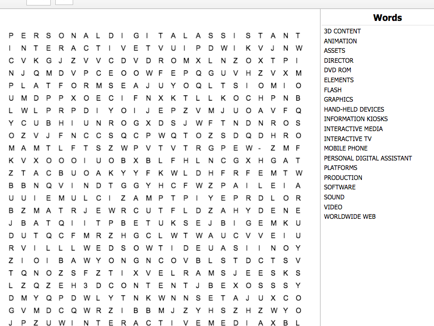 Creative Media Production Level 2 Unit 7 LO1 Interactive Word Search