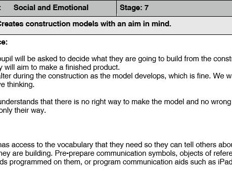 "SEND Social and Emotional ""creating a construction model with an aim in mind"""
