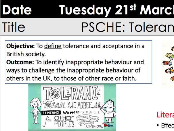 PSCHE lesson - British Values - tolerance