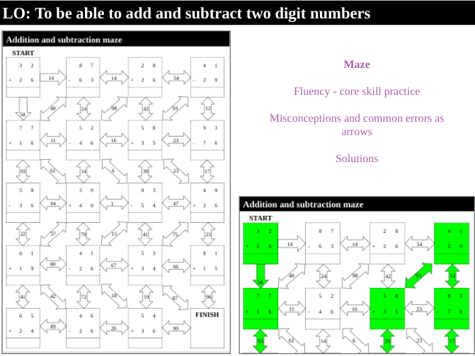 Addition and subtraction - Maze