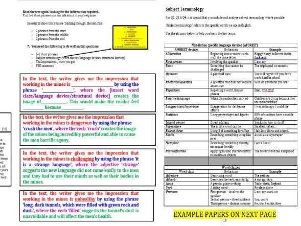 EDUQAS Paper 1 and Paper 2 Reading exam Revision Packs - GCSE English  Language