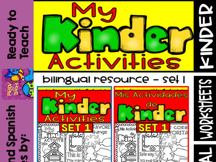 Back to School - My Kinder Activities - Bilingual Worksheets #Set 1