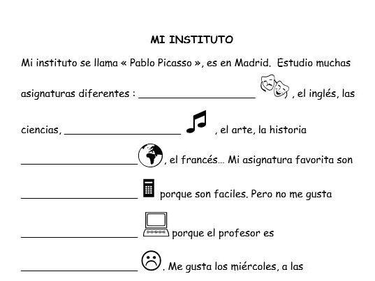 Spanish writing activities 4 topics