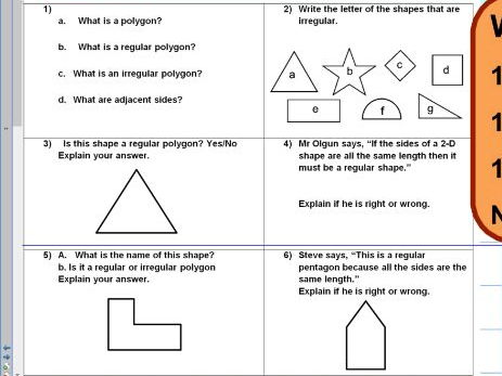 Regular and irregular polygons - reasoning- KS2 - SATS style - WORKSHEET ONLY
