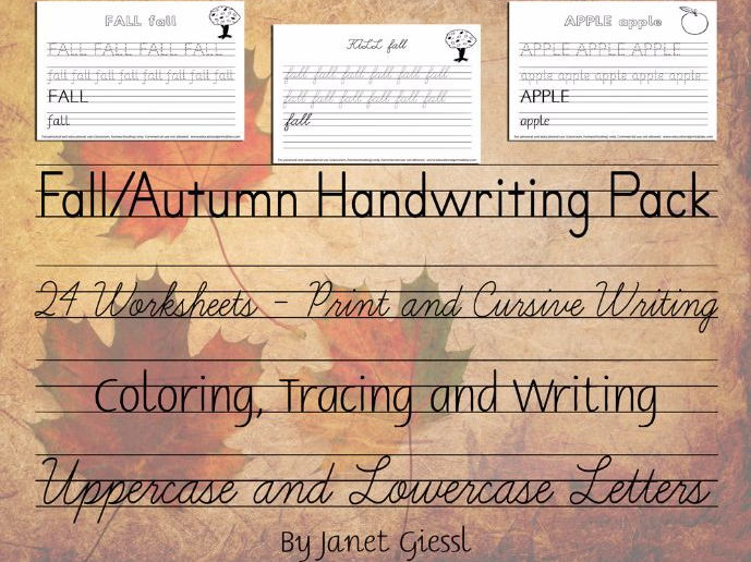 Fall/Autumn Handwriting Pack - Print and Cursive Writing