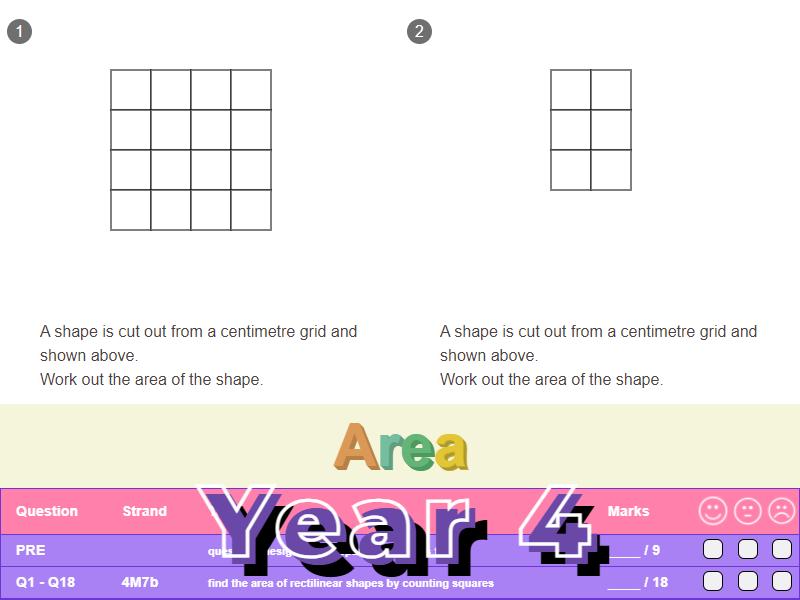Area Worksheet + Answers (KS2 - Year 4)
