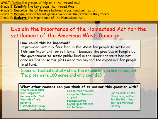 Who moved West? Revision session American West Edexcel 9-1