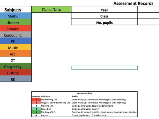 Primary Class Assessment Tracking Book