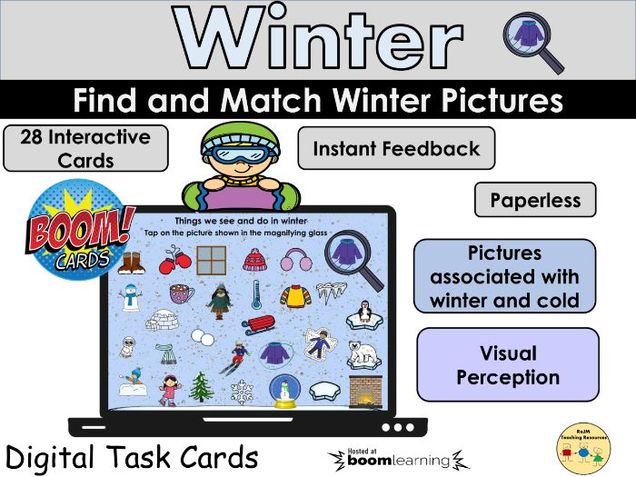 I Spy Find and Match Winter Pictures Visual Perception BOOM Cards Distance Home Learning