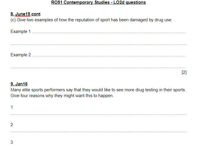 LO2 exam questions and mark schemes - OCR Sports Studies RO51