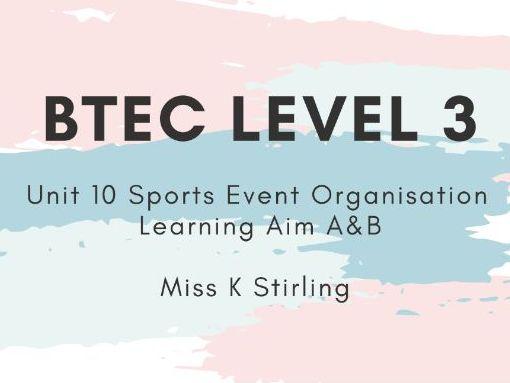 BTEC Level 3 Sport Unit 10 Sports Event Organisation