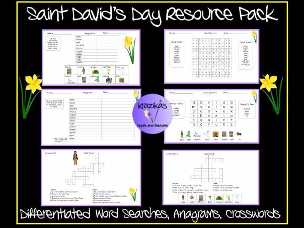 Saint David's Day Resource Pack - Differentiated Word Searches, Anagrams and Crosswords