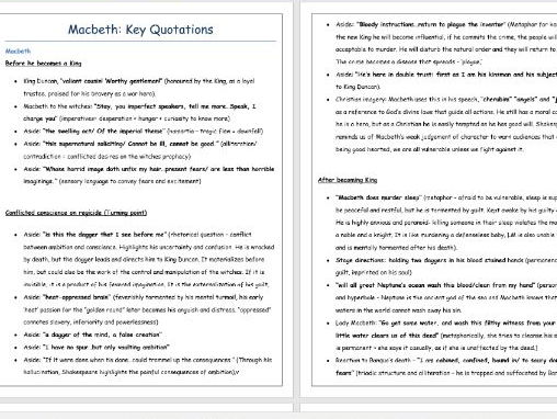 Macbeth Key Quotations - Revision (highly recommended by GCSE students)