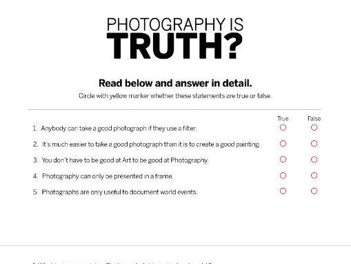 Photography is Truth Questionnaire