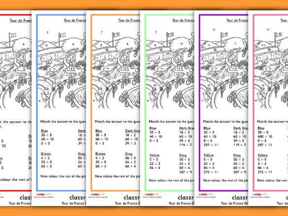 Tour de France Division Worksheets Colour by Numbers