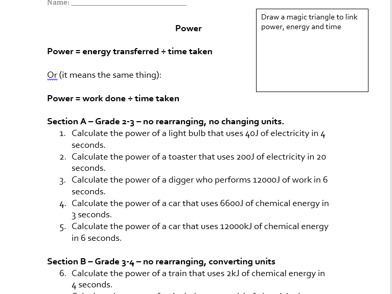 Power and Work done worksheet by akhan047 Teaching Resources TES – Calculating Work Worksheet