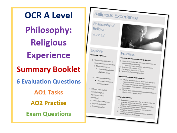 A Level RS: Religious Experience Summary Booklet - Independent Learning and Home Study