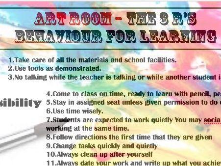 A poster for Behaviour in an Art class