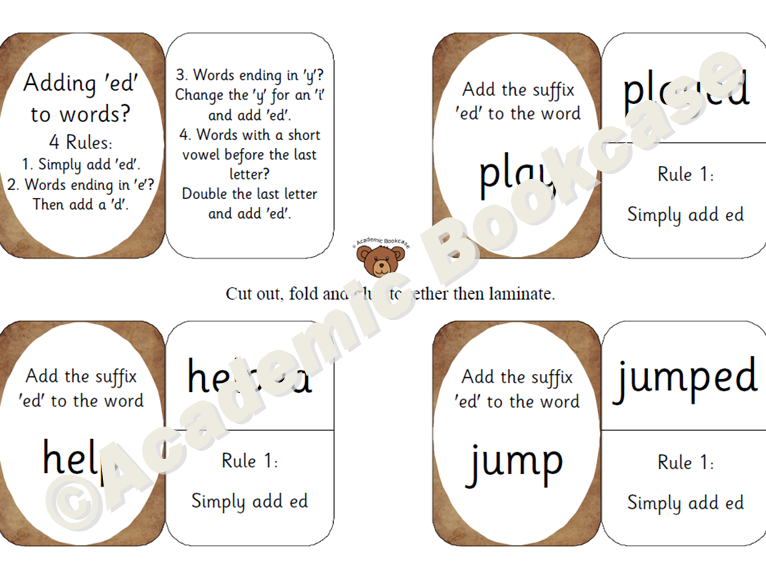 Self check flashcards - practise adding the suffix 'ed' to words