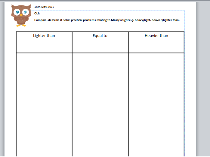 'Heavier than/Lighter than and Equal to' Activity Sheet