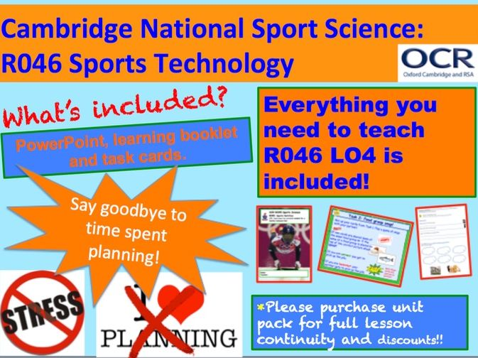 Cambridge National Sports Science R046: Sports Technology Learning Objective 4