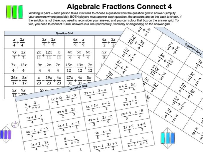 Algebraic Fractions Connect 4 Activity