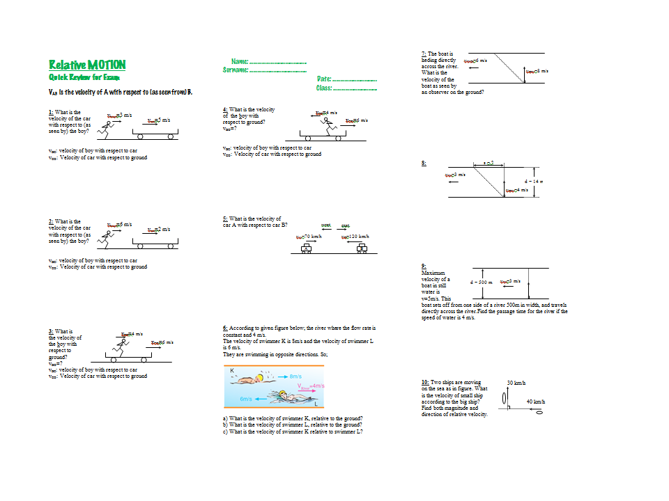 Relative Velocity (Relative MOTION) – Quick Review for Exam