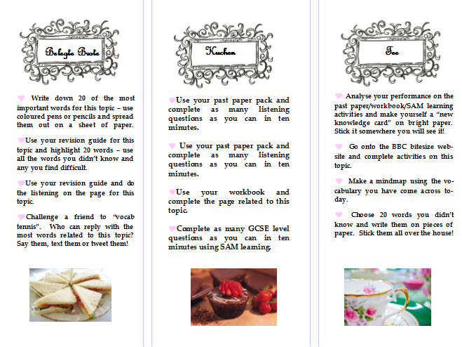 High Tea style Revision pack for GCSE German