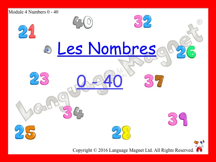 French Numbers 0 to 40 Presentation, Display Cards, Reference Sheet and Bingo Game