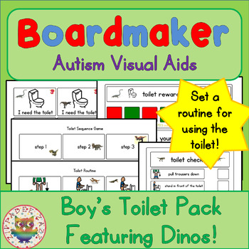 Dinosaurs Toilet Visual Pack (boy) - Boardmaker Visual Aids for Autism