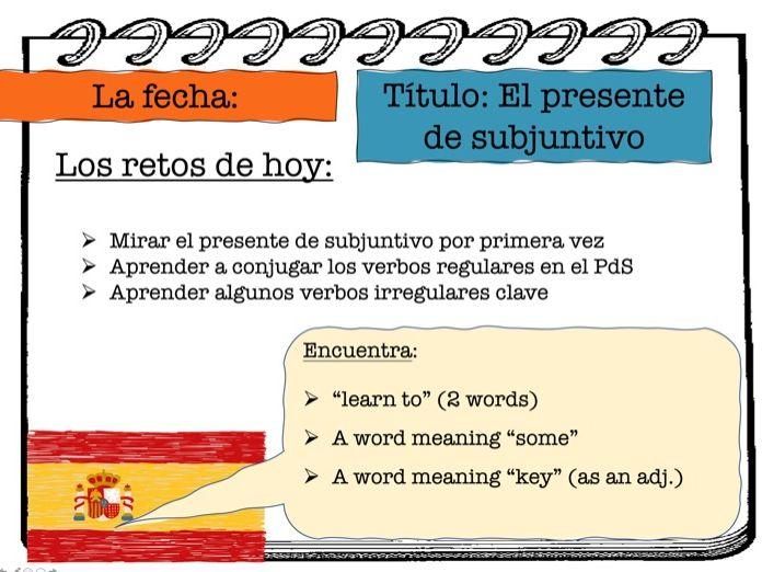 Spanish Present Subjunctive Tense  (+ Subjunctive Mood) incl. irregulars