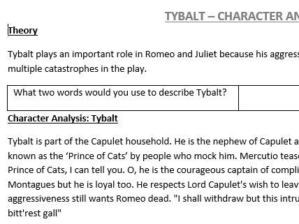 Tybalt Information Worksheet