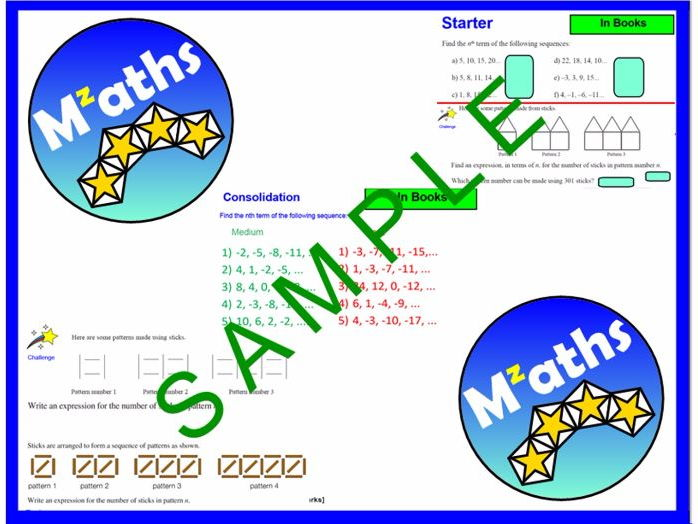 Sequences (3 Lessons) - Finding Nth Term/Generate Sequence/Problem Solving