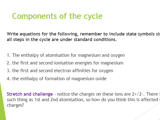 Born-Haber Cycles and Lattice Enthalpy