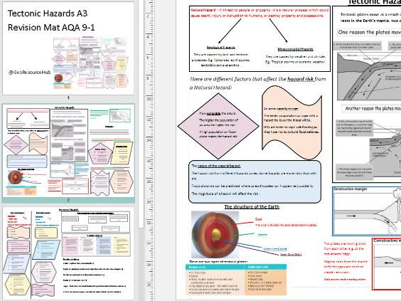 Tectonic Hazards A3 Revision Mat AQA 9-1 GCSE