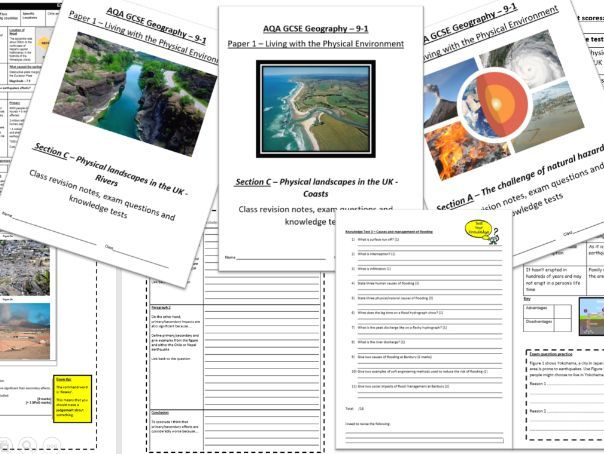 AQA Geography GCSE - Paper 1 revision work booklets