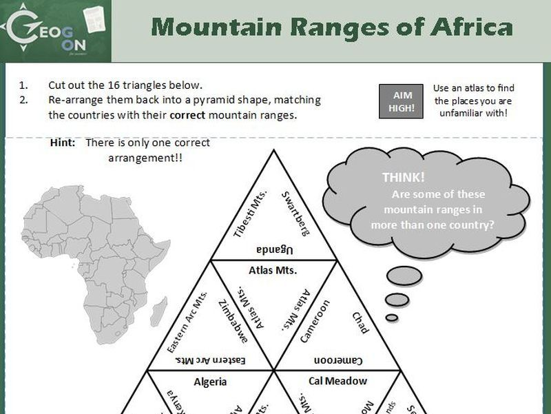 Mountain Ranges of Africa Triangle Puzzle