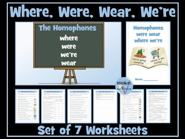 Homophones: Where, Were, We're and Wear